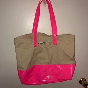 Victoria Secret Canvas Bag with Hot Pink Bottom